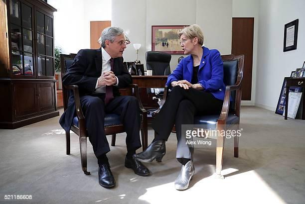 S Sen Elizabeth Warren meets with Supreme Court nominee Merrick Garland chief judge of the DC Circuit Court April 14 2016 on Capitol Hill in...