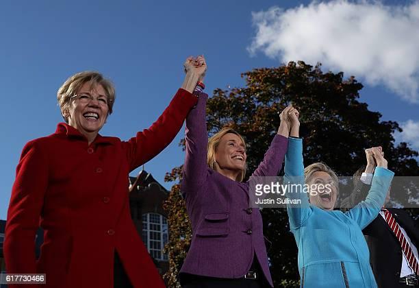 US Sen Elizabeth Warren New Hampshire Gov Maggie Hassan and democratic presidential nominee former Secretary of State Hillary Clinton greet...