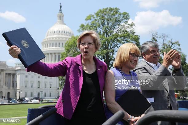 Sen Elizabeth Warren Sen Maggie Hassan and AFLCIO President Richard Trumka participate in a rally against Trump Administration cuts to education...