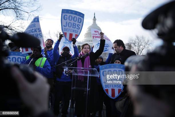 S Sen Elizabeth Warren speaks as former president and CEO of NAACP Ben Jealous looks on during a rally 'to fightback against the Republican war on...