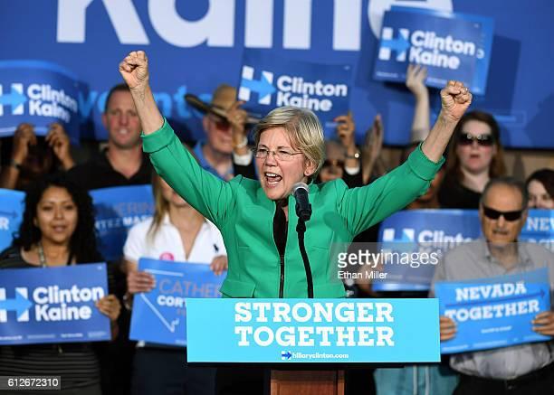 S Sen Elizabeth Warren speaks at The Springs Preserve on October 4 2016 in Las Vegas Nevada Warren is campaigning for Democratic presidential nominee...
