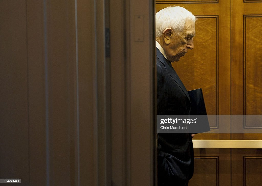 Sen. Frank Lautenberg, D-NJ, in the Senate elevator on the last day before the Easter recess.