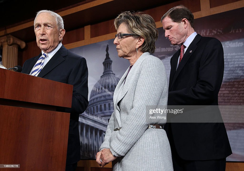 U.S. Sen. <a gi-track='captionPersonalityLinkClicked' href=/galleries/search?phrase=Frank+Lautenberg&family=editorial&specificpeople=240397 ng-click='$event.stopPropagation()'>Frank Lautenberg</a> (D-NJ) (L) speaks as Sen. <a gi-track='captionPersonalityLinkClicked' href=/galleries/search?phrase=Richard+Blumenthal&family=editorial&specificpeople=1036916 ng-click='$event.stopPropagation()'>Richard Blumenthal</a> (D-CT) (R) and Sen. <a gi-track='captionPersonalityLinkClicked' href=/galleries/search?phrase=Barbara+Boxer&family=editorial&specificpeople=169888 ng-click='$event.stopPropagation()'>Barbara Boxer</a> (D-CA) listen during a news conference on contraceptive coverage February 8, 2012 on Capitol Hill in Washington, DC. The news conference was to discuss the Obama administration's requiring faith-based institutions and other employers to provide free contraceptive in their health coverage.