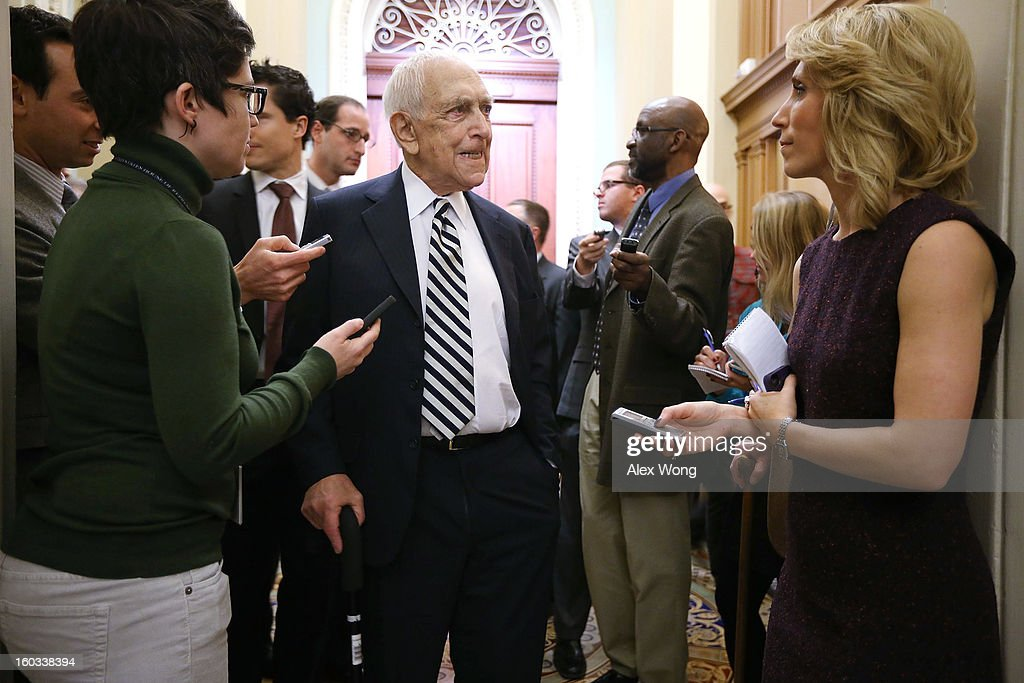 U.S. Sen. <a gi-track='captionPersonalityLinkClicked' href=/galleries/search?phrase=Frank+Lautenberg&family=editorial&specificpeople=240397 ng-click='$event.stopPropagation()'>Frank Lautenberg</a> (D-NJ) (C) speaks to members of the press as he arrives at the weekly Senate Democratic Policy Luncheon at the U.S. Capitol January 29, 2013 on Capitol Hill in Washington, DC. Senate Democrats gathered at the luncheon to discuss Senate Democratic agendas.