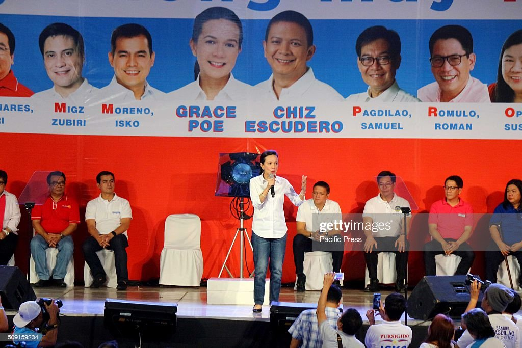 Sen. Grace Poe running for Philippine President gives messages during the proclamation Rally of Galing at Puso Party in Plaza Miranda as the 90-day election campaign period started.