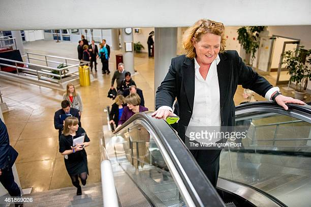Sen Heidi Heitkamp arrives at the US Capitol on the evening of the State of the Union Address on January 20 2015 in Washington DC