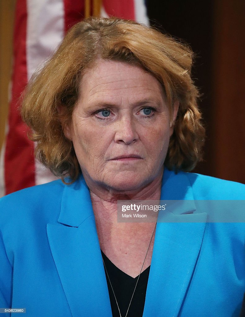 Sen. Heidi Heitkamp (D-ND), attends a news conference to discuss the Senate's recent failed vote for funding to fight the Zika virus, on Capitol Hill June 29, 2016 in Washington, DC.