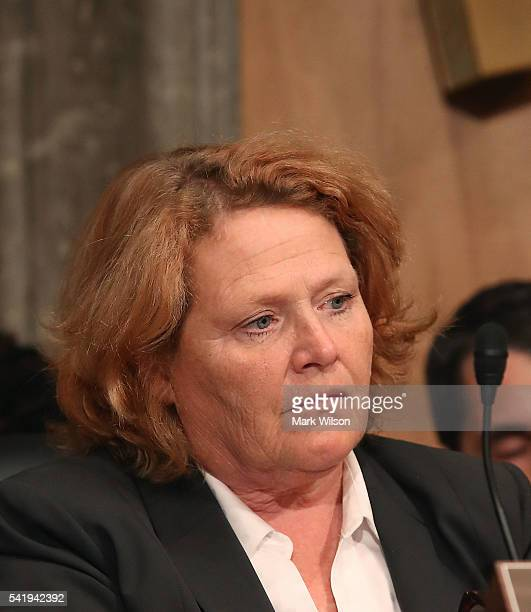 Sen Heidi Heitkamp listens to testimony during a Senate Homeland Security and Governmental Affairs Committee hearing on Capitol Hill June 21 2016 in...