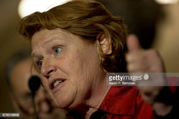 Sen Heidi Heitkamp speaks with the media after the weekly policy luncheon on Capitol Hill May 2 2017 in Washington DC Heitkamp discussed the...