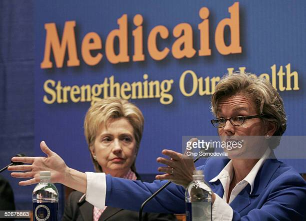 S Sen Hillary Rodham Clinton and Michigan Governor Jennifer Granholm participate in a forum on the impact proposed cuts to Medicaid would have on...