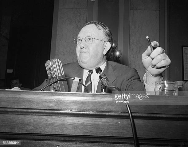 Sen Homer E Capehart RInd chairman of the Senate Banking Committee is shown as he announced plans today for extensive new hearings of Federal Housing...