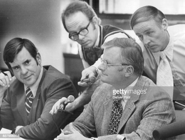 Sen Hugh Fowler Moves To Close GOP Senate Caucus Sen Richard Plock left looks on as newsmen try to get Fowler's statement Credit Denver Post
