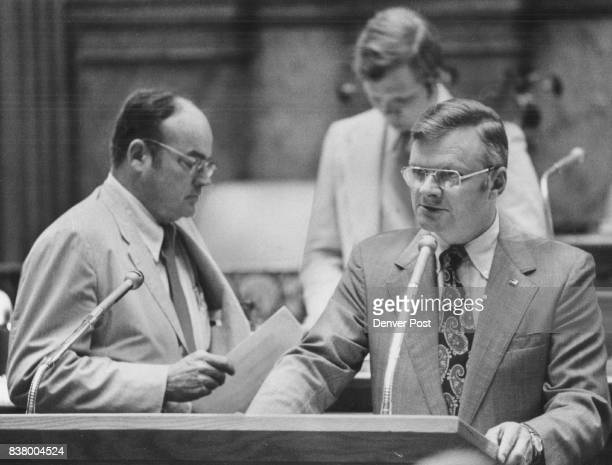 Sen Hugh Fowler Speaks in Favor of Ball to Make Cigarette Tax 10 Cents Statewide At left is Sen William Garnsey who amended bill to favor counties...