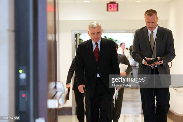 Sen Jack Reed a member of the Senate Armed Services Committee heads for a Senate Armed Services Committee hearing in the US Capitol building May 14...