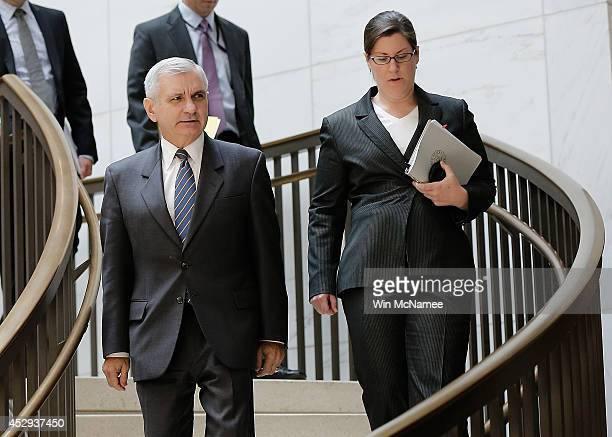Sen Jack Reed arrives for a Senate Armed Services Committee closed briefing July 30 2014 in Washington DC Members of the committee received a...