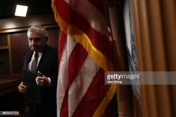 S Sen Jack Reed ranking member of Senate Armed Services Committee leaves after a news conference on the Korean Peninsula October 16 2017 at the...