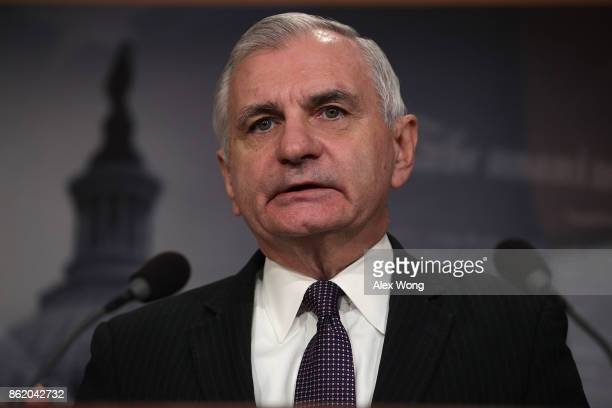 S Sen Jack Reed ranking member of Senate Armed Services Committee speaks during a news conference on the Korean Peninsula October 16 2017 at the...