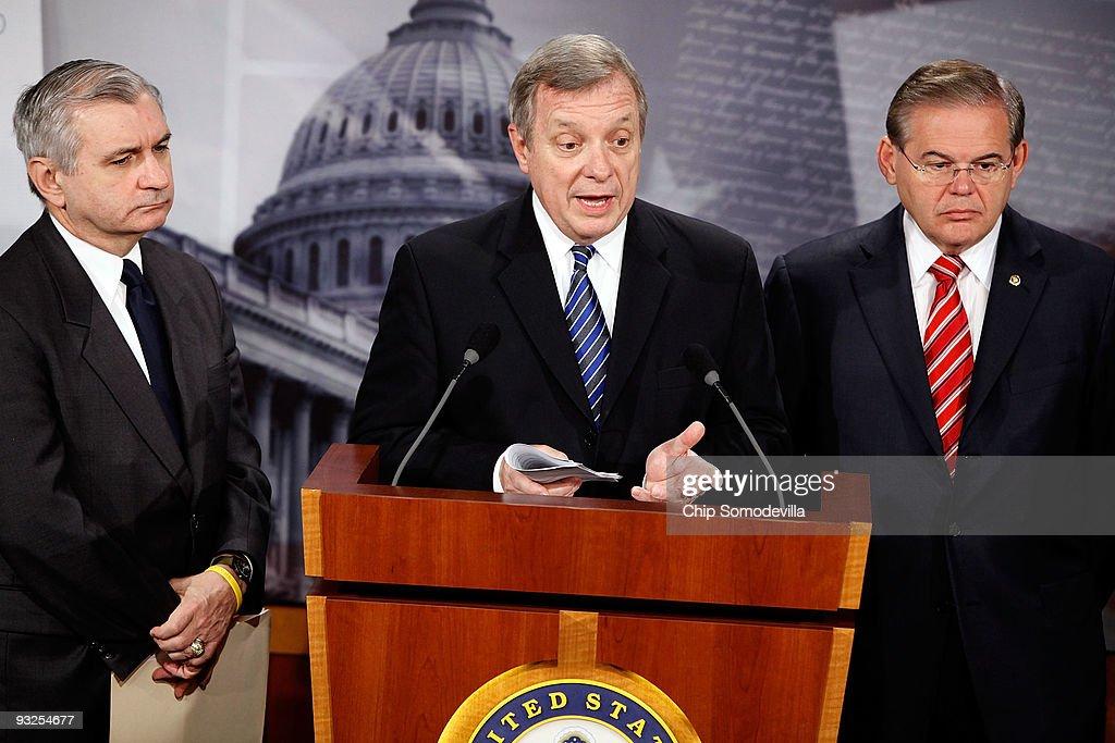 Sen Jack Reed Senate Majority Whip Richard Durbin and Sen Robert Menendez hold a news conference about health care at the US Capitol November 20 2009...