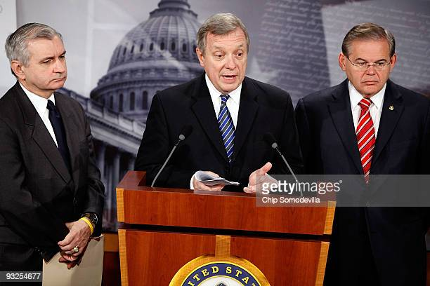 Sen Jack Reed Senate Majority Whip Richard Durbin and Sen Robert Menendez hold a news conference about health care at the US Capitol November 20 2009...