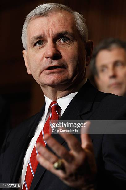 Sen Jack Reed speaks during a news conference with about the student loan bill currently being debated by US Senate at the US Capitol May 8 2012 in...