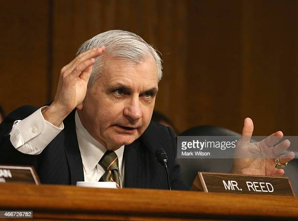 S Sen Jack Reed speaks during a Senate Armed Services Committee hearing on Capitol Hill March 18 2015 in Washington DC The committee was hearing...