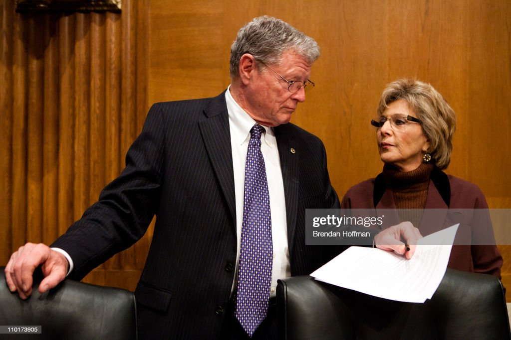 Sen. James Inhofe (R-OK) (L) and Sen. <a gi-track='captionPersonalityLinkClicked' href=/galleries/search?phrase=Barbara+Boxer&family=editorial&specificpeople=169888 ng-click='$event.stopPropagation()'>Barbara Boxer</a> (D-CA) talk before a hearing on Capitol Hill on March 16, 2011 in Washington, DC. The commission issued its report shortly before the one year anniversary of the Gulf Oil Spill on April 20, 2010.
