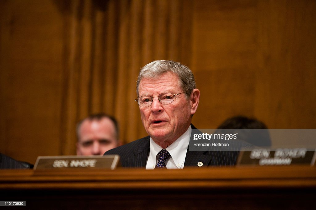 Sen. James Inhofe (R-OK) questions witnesses from National Commission on the BP Deepwater Horizon Oil Spill and Offshore Drilling at a hearing on Capitol Hill on March 16, 2011 in Washington, DC. The commission issued its report shortly before the one year anniversary of the Gulf Oil Spill on April 20, 2010.