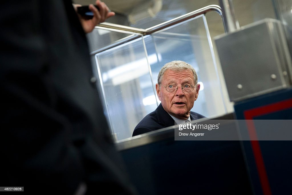 Sen. James Inhofe (R-OK) rides the Senate subway in the basement of the Capitol, on Capitol Hill, July 28, 2015 in Washington, DC. On Tuesday, the Senate is continuing to work toward passing a long-term extension of a federal highway bill that is set to expire on Friday.