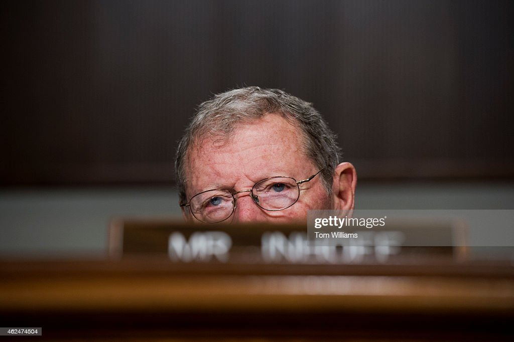 Sen. James Inhofe, R-Okla., attends a Senate Armed Services Committee hearing in Dirksen on U.S. national security strategy, January 29, 2015. Former Secretaries of State George Shultz, Madeleine Albright, and Henry Kissinger testified.