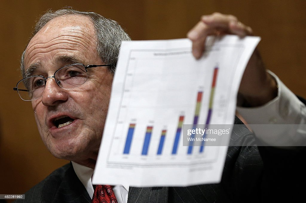 Sen. James Risch (R-ID) questions witnesses while holding a chart showing increased annual apprehensions of unaccompanied immigrant minors during a hearing of the Senate Foreign Relations Committee July 17, 2014 in Washington, DC. The committee heard testimony on 'Dangerous Passage: Central America In Crisis And the Exodus of Unacompanied Minors.'