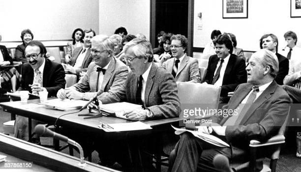 Sen James Rizzuto Rep Dick Bond Rep Elwood Gillis and Sen Bob DeNier alli members of the powerfull Joint Budget Committee speak before a join HEWI...