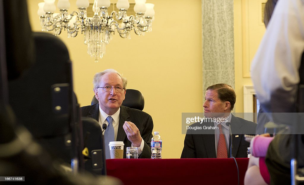 Sen. Jay Rockefeller, D-W.Va. and Sen. Richard Blumenthal, D-CT., during a pen-and-pad briefing to introduce and discuss a bill that would 'responsibly reduce the deficit without taking benefits away from Medicare beneficiaries, protect seniors' health care, and use less taxpayer dollars.'on April 16, 2013.