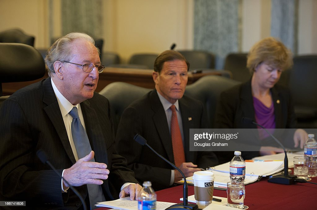 Sen. Jay Rockefeller, D-W.Va., Sen. Richard Blumenthal, D-CT., and Sen. Tammy Baldwin, D-Wis., during a pen-and-pad briefing to introduce and discuss a bill that would 'responsibly reduce the deficit without taking benefits away from Medicare beneficiaries, protect seniors' health care, and use less taxpayer dollars.'on April 16, 2013.