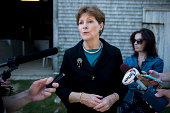 Sen Jeanne Shaheen DNH speaks with reporters following her news conference with Secretary of Agriculture Tom Vilsack at the Miles Smith Farm in...