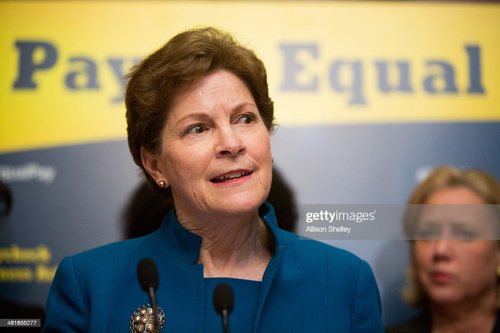 U.S. Sen. Jeanne Shaheen (D-NH) speaks during a press conference to urge Congress to pass the Paycheck Fairness Act, on Capitol Hill April 1, 2014 in Washington, DC. The act would ensure equal payment for equal work for both women and men.