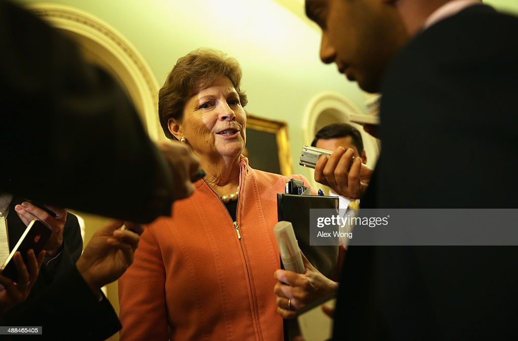 U.S. Sen. <a gi-track='captionPersonalityLinkClicked' href=/galleries/search?phrase=Jeanne+Shaheen&family=editorial&specificpeople=5591285 ng-click='$event.stopPropagation()'>Jeanne Shaheen</a> (D-NH) speaks to members of the media after a policy luncheon May 6, 2014 on Capitol Hill in Washington, DC. Senate Democrats held their weekly policy luncheon to discuss Democratic agenda.