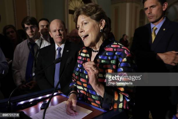 S Sen Jeanne Shaheen talks to reporters with Sens Chris Coons and Martin Heinrich following the weekly Democratic policy luncheon at the US Capitol...