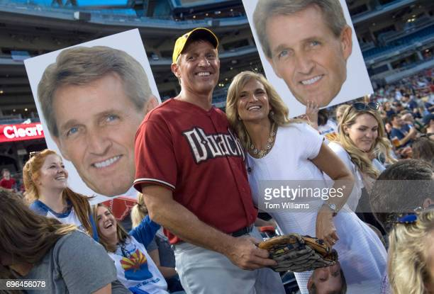 Sen Jeff Flake and his wife Cheryl are seen in the stands during the 56th Congressional Baseball Game at Nationals Park on June 15 2017