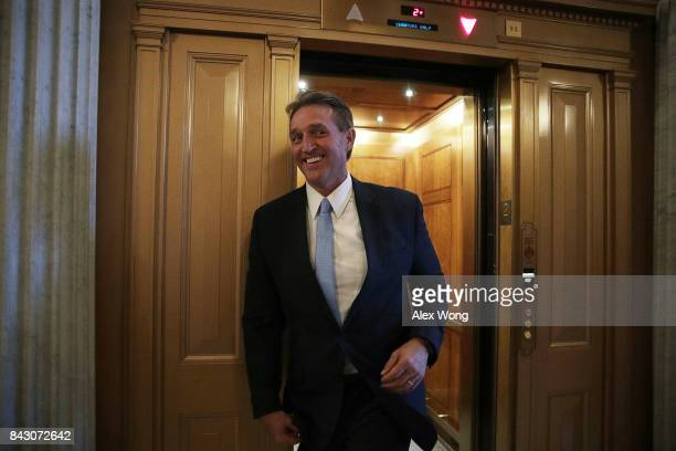 S Sen Jeff Flake arrives for a vote at the Capitol September 5 2017 in Washington DC Congress is back from summer recess with a heavy legislative...