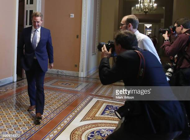 Sen Jeff Flake leaves a closed meeting with Senate Republicans on Capitol Hill on June 22 2017 in Washington DC The meeting was held so Senate GOP...