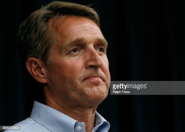 S Sen Jeff Flake listens to questions at a town hall event at the Mesa Convention Center on April 13 2017 in Mesa Arizona It was the first such event...