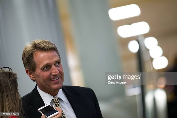 Sen Jeff Flake speaks with reporters after a vote at the US Capitol May 9 in Washington DC Senate Democrats defeated a procedural vote on an energy...