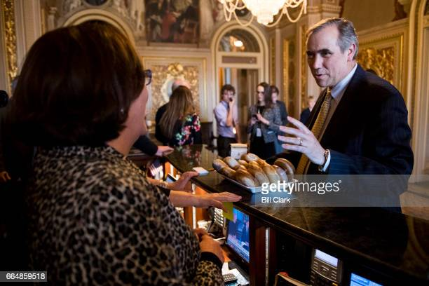 Sen Jeff Merkley DOre delivers bagels and muffins to Senate staff in the Senate Reception Room after wrapping up his all night speech on the Senate...