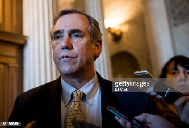 Sen Jeff Merkley DOre speaks with reporters after wrapping up his all night speech on the Senate Floor opposing the confirmation of Neil Gorsuch on...