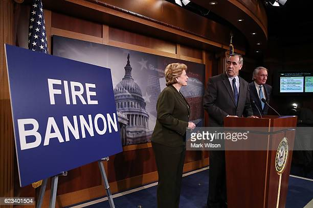 Sen Jeff Merkley stands with Sen Debbie Stabenow and Sen Edward Markey as he calls on Presidentelect Donald Trump to fire Stephen Bannon who he...