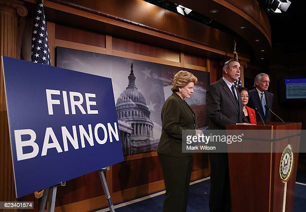 Sen Jeff Merkley stands with Sen Debbie Stabenow Sen Mazie Hirono and Sen Edward Markey as he calls on Presidentelect Donald Trump to fire Stephen...