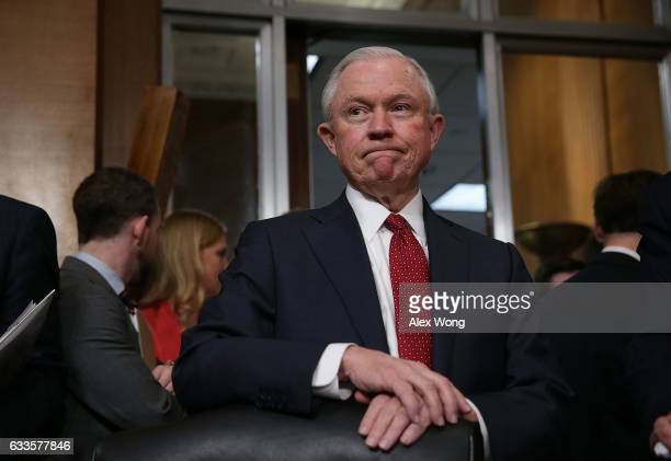 S Sen Jeff Sessions a committee member waits for the beginning of a meeting of Senate Environment and Public Works Committee February 2 2017 on...