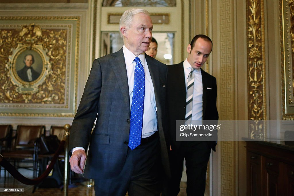 U.S. Sen. <a gi-track='captionPersonalityLinkClicked' href=/galleries/search?phrase=Jeff+Sessions&family=editorial&specificpeople=534346 ng-click='$event.stopPropagation()'>Jeff Sessions</a> (R-AL) arrives for a briefing with U.S. Secretary of State John Kerry at the U.S. Capitol September 9, 2015 in Washington, DC. Kerry will be briefing members of the House and Senate Judiciary committees about the Syrian refugee crisis in Europe and the Iran nuclear deal.