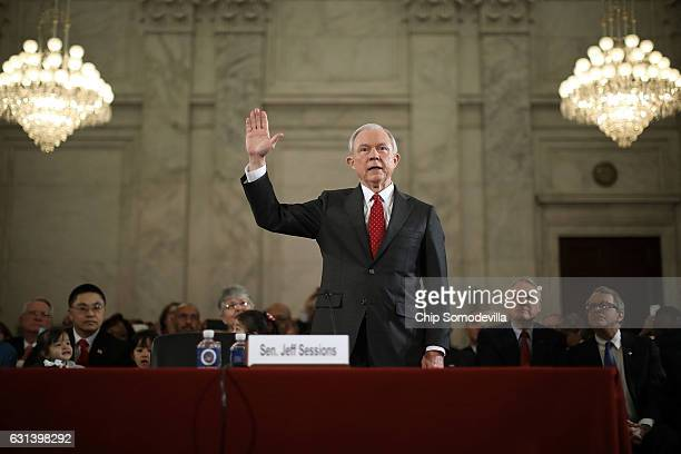 Sen Jeff Sessions is sworn in before the Senate Judiciary Committee during his confirmation hearing to be the US attorney general January 10 2017 in...