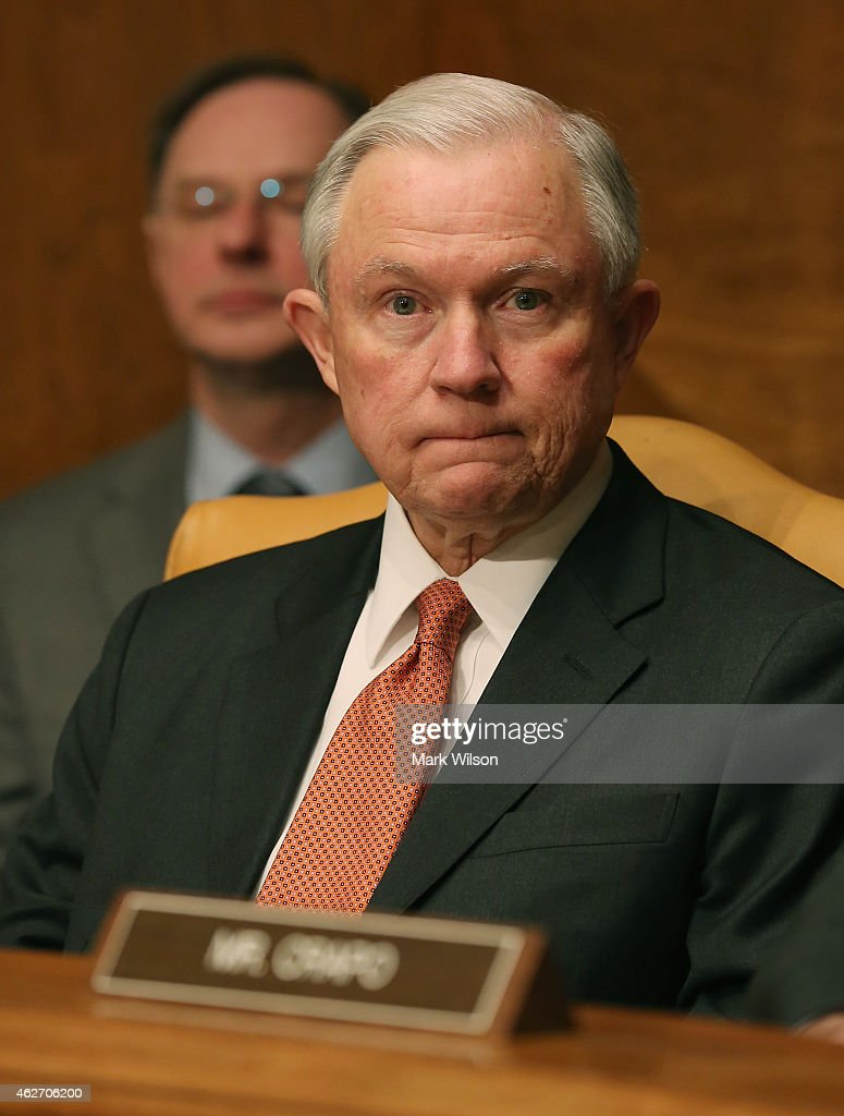 Sen. <a gi-track='captionPersonalityLinkClicked' href=/galleries/search?phrase=Jeff+Sessions&family=editorial&specificpeople=534346 ng-click='$event.stopPropagation()'>Jeff Sessions</a> (R-AL) participates in a Senate Budget Committee hearing on Capitol Hill, February 3, 2015 in Washington, DC. The committee is hearing testimony Office of Management and Budget Director Shaun Donovan on President Obamas FY2016 budget request.